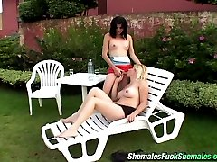 Kinky shemales burning with desire to poke each other ass with hard poles