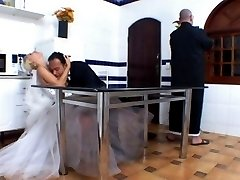 Nasty shemale bride and groom burning with desire for wild fucking on floor