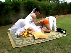 Voluptuous shemale bride and steamy fianc233 having wedding sex on the lawn