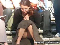 White panties exposed inpublic upskirt episodes shot on a crowded stairs