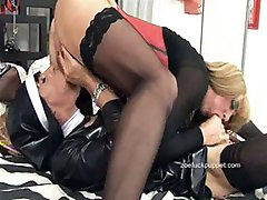 Hot kinky Crossdresser Zoe Fuck Puppet dressed as a nun fucking toy and sucking some tranny cock