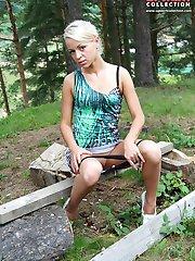Panty slip aside on up skirt shots