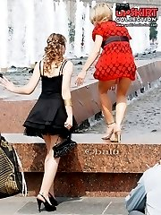 Red panty up blodes red dress