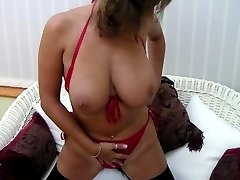Busty wife at home in stockings