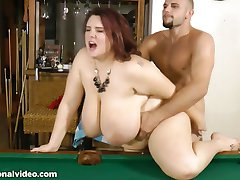 Rotund tittied BBW fucked on a pool table
