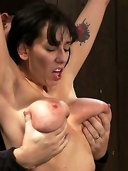 Alia Janine and her innate 34FF monster boobage is back.  We love hot Cougar's all stretched out and helpless, don't you?