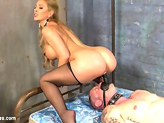 Unsuspecting D. Arclyte awaits expert punishment at the Hotel Divine where Mistress Cherie DeVille appears from the depths of her dungeon. She entices him with her array of severe punishing implements.  She binds D. to a Fucking Machine, taunts him with her pussy and asshole while his ass gets pummeled,  he is strapped to a metal bar, pegged, flogged and caned then she finally torments him with her Fucksaw making him cum at her will. He is spent but she straps a dildo gag on him and uses his sweaty dumb face to get off. At Hotel Divine customer service is our top priority.