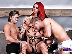 Mistress Jemstone and two doms spitroast and DP Loz Lorrimar