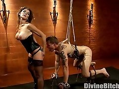 Mistress Felony, Divine Bitches resident hellrasier devours Trent Diesel with her magnificent black leather and strong form of femdom. Trent is handled to chains, clothespins, Cock And Ball Torture, flogging and wire-on butt tearing up. He's made to idolize bum and is used as a pleasure slave. Felony has dominating fuck-a-thon with Trent until her pussy is sated. She allows her slave the pleasure of unleash but humiliatingly makes him eat his mud right out of her arm!