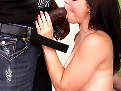 Hot brunette Lauritta goes for a raunchy interracial fuckfest and got her hairy pussy fingered and fucked