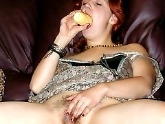 Corn on the cob works for her hairy pussy and pits