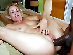 Horny blondie Kelly Leigh got her hairy pussy plowed by a big black cock in this wild interracial story