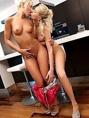 Stunning blondes lick and finger