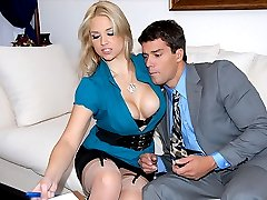 Amazing big tits hot ass babe madison gets her business skirt pussy fucked hard in the office in these hot desk banging cum faced vids