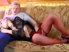 Fiery babe does not take off her red stockings while going for hard fucking