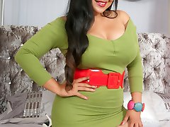 Asian MILF Amy and plays in the bedroom in some tan seamless pantyhose, teasing in her apple green clingy micro mini dress!