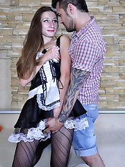 Upskirt maid getting licked and dicked through her crotchless fashion hose