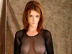 Redheaded busty bitch in pantyhose Desiree gets shaved pussy fingered