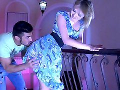 Exotic uniformed maid parts her stockinged legs for her young horny master