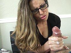 Demanding Boss Milks Her Intern - MILF and Mature Handjob Videos Over 40 Handjobs