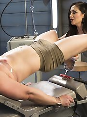 The gorgeous Lea Lexis turns Rick Fantana into her little bitch all bound and humiliated on a gynecological chair in her futuristic medical fetish dungeon! This pathetic man slave screams for corporal punishment, intense tit torment, and extreme cock and ball suffering. Lea takes a spiked roller to his delicate body which immediately gets the precum flowing for her pleasure. After squeezing his pathetic testicles again, she smothers him with her pussy face sitting. Next his asshole needs some work, after a butt plug is removed she rams a metal rod straight up his ass. This gets his sad cock rock hard and he is ready for some deep strap-on pegging which causes his eyes to bulge out of his head before he is allowed to release his huge load all over his own face. Pathetic.