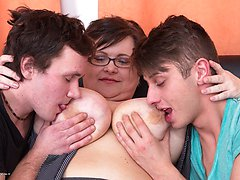 Two naughty boys doing a horny chubby huge breasted mature lady