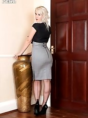 Evey in skin tight pencil skirt stripping down to her sheer green panties!
