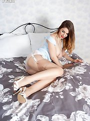 Stella wants to give you a special treat showing you her lovey body adorned with stunning nylons lingerie and stilettos!
