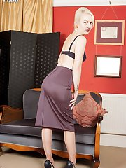 Kiana stripping to a pretty set of french, navy lingerie, vintage stockings and custom made peep toe stilettos.