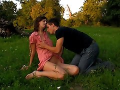 A field is a natural location for these teens. With no one around to stop them, they`re soon ripping off each others clothes. She eagerly takes his hard cock inside of her tender pussy.