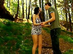 There`s no place more natural to have sex, then outdoors beneath the trees and on the soft ground. He pushes his rock rigid boner inside of her tender pussy and makes her moan.