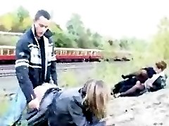 Girls get fucked at a train station