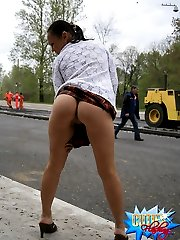 Hot chick flashes tits and ass for road workers