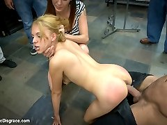What's a tiny blonde doing inside of a sleazy sex shop filled with nasty horny guys? Luna Light is getting disgraced in public for her first ever porno shoot!  She is dragged inside and swarmed by pervy men ready to fulfill the fantasies they came here for. Luna makes the perfect little blow-up doll as she gets tossed about the room bouncing up and down on a huge cock. She crawls around on the floor and sucks dirty dick while getting her tiny tits grabbed and her whore pussy tormented with a vibrator.  Hot woman fuck her holes with dicks on sticks.  The highlight of the show is when she gets dragged into a dark booth, blindfolded and pounded through a glory-hole. Covered with cum and her own filthy squirt- Luna's first porn shoot is a success!