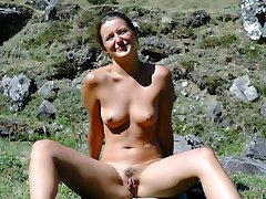 Naughty girlfriends posing naked in public