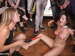 Don't let Perky Brunette Nati Mellow's size fool you, she is a wiggly little bitch and needs to be held down and humiliated. This braces face whore gets tied up in rope bondage and ruins hundreds of tourist photos out in Barcelona! Then this little pocket sized pussy gets dragged in the Coplas Bar and has her dirty filthy bare feet punished! Everyone gets a turn on this whore whipping and flogging her! Not to mention zappers, this slut is afraid! The whole bar can't even hold her down. Finally we get this cunt down and fuck her full of cocks. We have to smother her in huge tits to get this squirmy little bitch to stay still! Nati Mellow is the tiniest most poorly behaved little cunt Mona Wales has ever met in all of Spain!