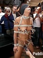 Mischa Books has a banging body and a beautiful face. She is definitely green when it comes to BDSM, but that doesn't stop Mark Davis and Princess Donna from putting her through her paces. We let everyone decorate her body with clothespins, make her squirt for the first time ever. Put an ass hook in her butt while we fuck her cunt, and give her an experience she is sure not to forget in this lifetime! Full on public sex, bondage, and humiliation!!!!