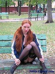 Hottie in stockings sex toying in public