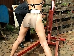 Redhead is stretched and lashed