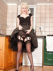 Sometimes the best place to be at a party is in the kitchen, with Kiana getting hot in black vintage sheer full fashioned nylons and racy black lingerie!