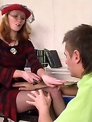 Girl co-worker in black stockings wetting knob before taking it up her muff