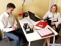 Mischievous lady boss stretching guy�s ass to the limits with her strap-on