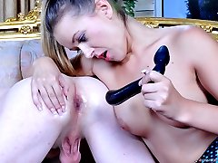 Stunned girl gets paid to give a double dildo workout to a cock-loving guy