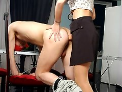 Blindfold guy unsuspecting strap-on fucking bout with mischievous blondie