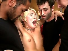 Katie Summers and her husband Blake enter their honeymoon suite prepared for a night of romance to cap off their beautiful wedding ceremony. But when Blake leaves the room for ice he returns to find his wife bound and surrounded by five masked men who proceed to handcuff him to the bed and turn his virginal wife into a whore before his very eyes. She is made to suck cock and take it in every hole while her new husband can do nothing but watch his wife get fucked senseless and cum uncontrollably.   This is Katie Summers first EVER double penetration!!!!!!! Don't miss it!!!!!!