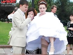 Stockings up skirt of a bride