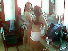 Sizzling hot lesbian action caught on the security camera