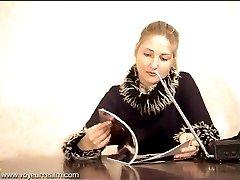 Hot blonde secretary masturbating under the table