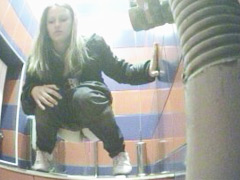 Sporty chick with hot ass takes a leak on spy cam