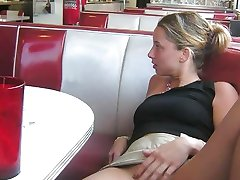 Naughty wild chicks flash pussies in public